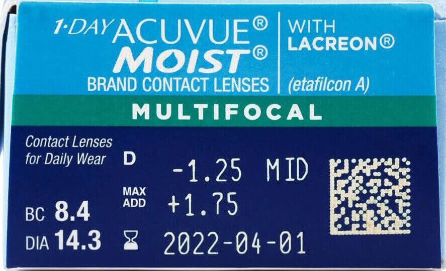 Contact Lenses Box Prescription Side